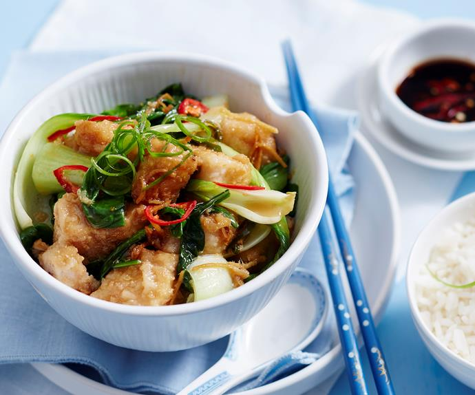 fish with stir fry vegetables