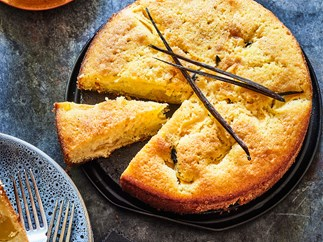 Peach cake with vanilla and rosemary syrup