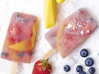 strawberry, mango and blueberry iceblocks