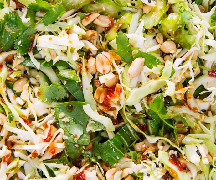 Crunchy Asian cabbage and peanut slaw with ponzu dressing
