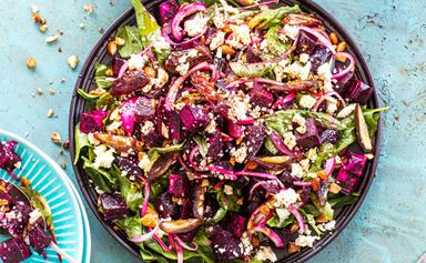 Beetroot, spiced almond, date and feta salad