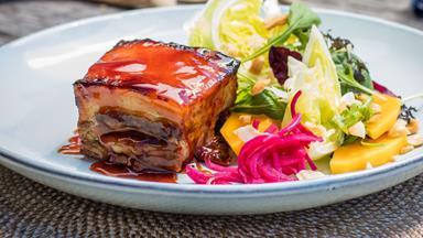 Sticky caramelised roasted ginger beer pork belly