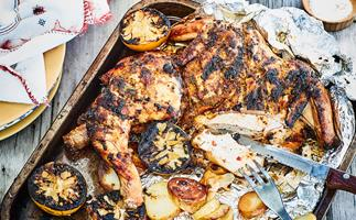 Spicy Portuguese-style barbecued chicken with lemon potatoes