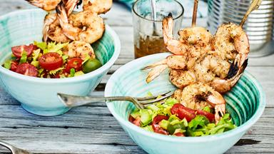 Barbecue prawn skewers with Bloody Mary salad bowls