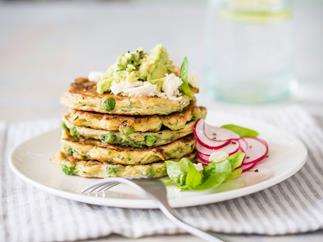 Avocado, courgette and pea fritters with feta and mint