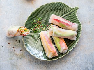 Avocado and quinoa rice paper rolls with herb and chilli mix