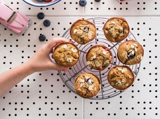 Apple and berry oat mini muffins
