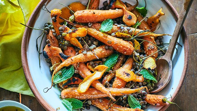 Roast carrot, burnt orange peel and lentils with orange mustard dressing