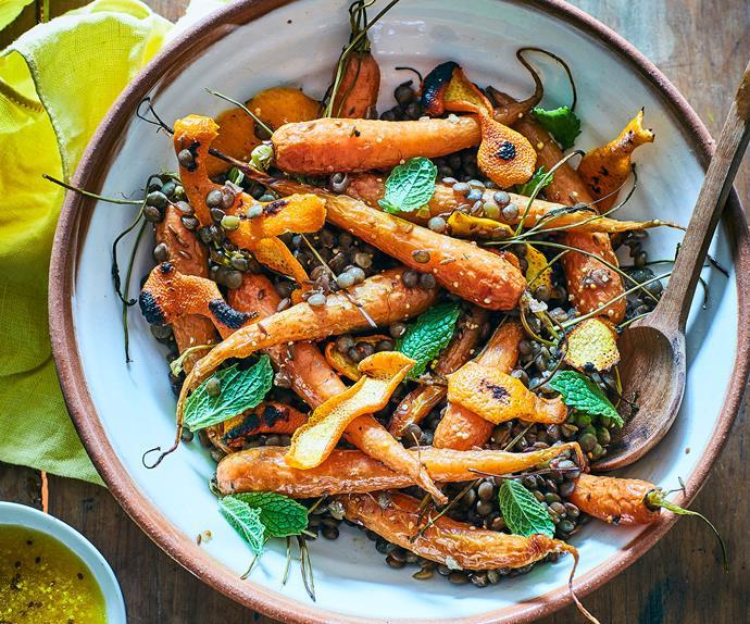 Roast carrot, burnt orange peel and lentils with orange mustard dressing