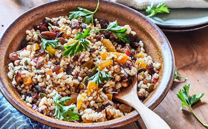 Colourful, healthy brown rice salad