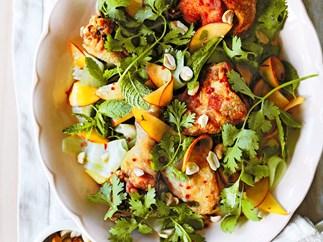 Crisp-skinned Vietnamese chicken with peaches