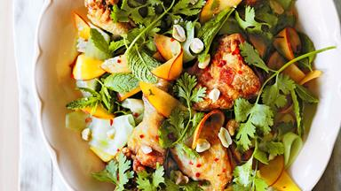 Crisp-skinned Vietnamese chicken and peach herb salad