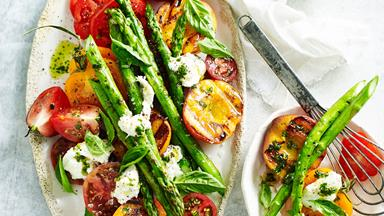 Peach and asparagus caprese salad with pistachio mint pesto
