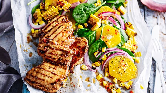Portuguese-style barbecue chicken thighs with corn salad