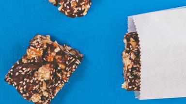 Popcorn, honey and nut slice (gluten-free and dairy-free)