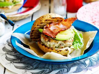 Chicken, avocado and bacon burgers