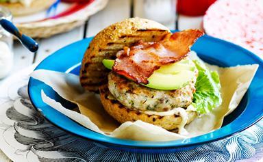Chicken, avocado and bacon burgers with mustard garlic mayo