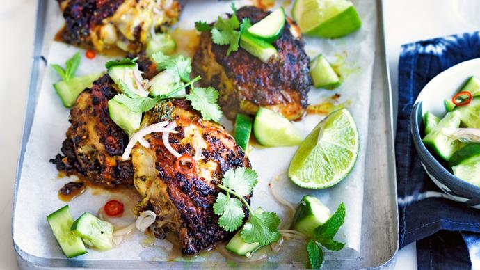 Barbecue turmeric chicken thighs with cucumber salad