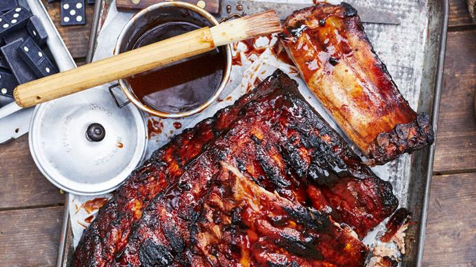 Texan-style smoked pork ribs with barbecue sauce