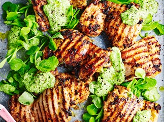 Barbecued chermoula chicken thighs with pea purée