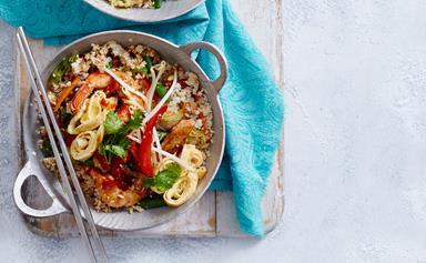 Chicken and prawn nasi goreng with cauliflower rice