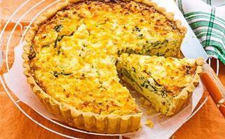 Corn, broccoli and feta vegetarian quiche
