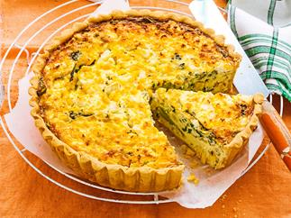 Corn, broccoli and feta vegetarian quiche