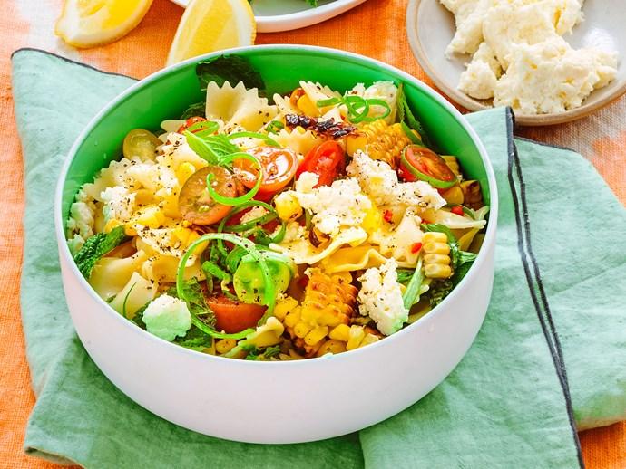 Corn and tomato pasta salad with lemon and ricotta