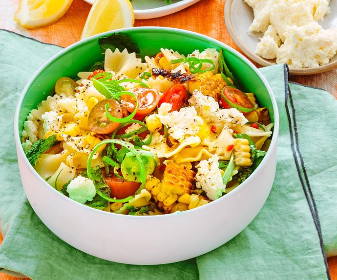 Corn and tomato pasta salad with lemon and ricotta