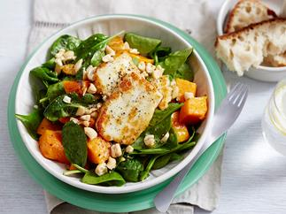 pumpkin spinach haloumi salad recipe