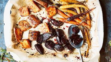 Sticky cararmelised honey-roasted root vegetables