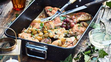 Wine-braised chicken thighs with grapes, capers, lemon and parsley