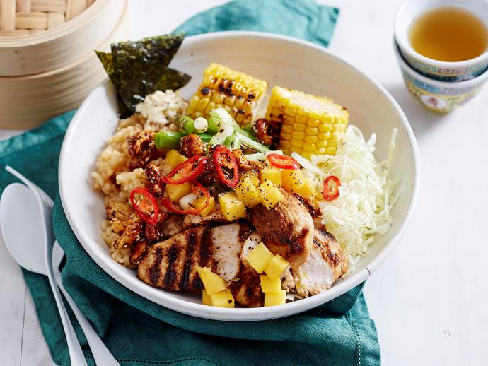 "**[Charred chicken poke bowl](https://www.womensweeklyfood.com.au/recipes/charred-chicken-poke-bowl-2933|target=""_blank"")** Flavoursome honey soy chicken pieces are here teamed with chargrilled corn and fresh mango for a delicious lunch that won't fail to satisfy."