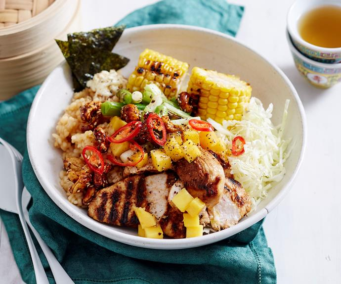 Charred chicken poke bowl