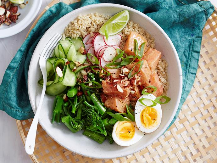 "**[Salmon, miso and ginger poke bowl](https://www.womensweeklyfood.com.au/recipes/salmon-miso-and-ginger-poke-bowl-2935|target=""_blank"")**  Healthy, hearty and so satisfying, this salmon poke bowl makes the ideal make-ahead work lunch."