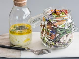 Spring salad in a jar with yoghurt mint dressing