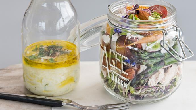 Spring salad in a jar with yoghurt mint dressing