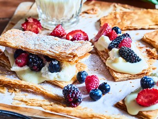 Little berry and pastry cream custard sandwiches