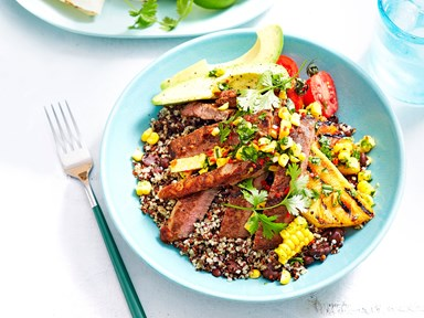 Barbecue Mexican beef and quinoa dinner bowls with corn salsa