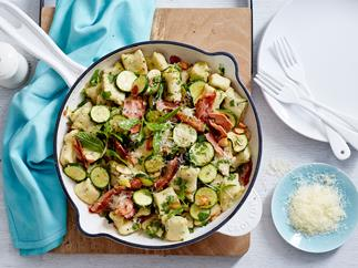 Gnocchi with courgette, almond, mint and bacon