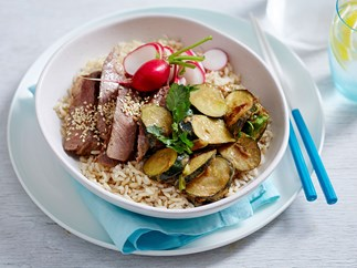 Miso-marinated beef and courgette brown rice bowl