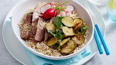 Miso-marinated beef and courgette brown rice bowls