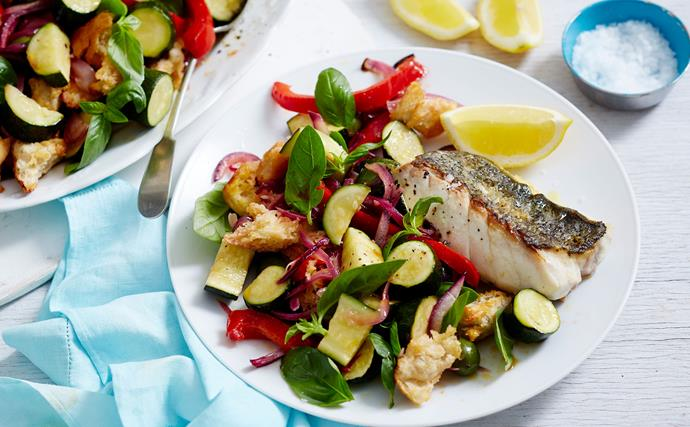 Fish with courgette and capsicum panzanella salad