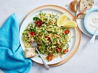 Zoodles (zucchini noodles) with garlic, chilli and seafood