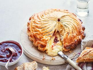 Camembert pithivier with spiced grape compote