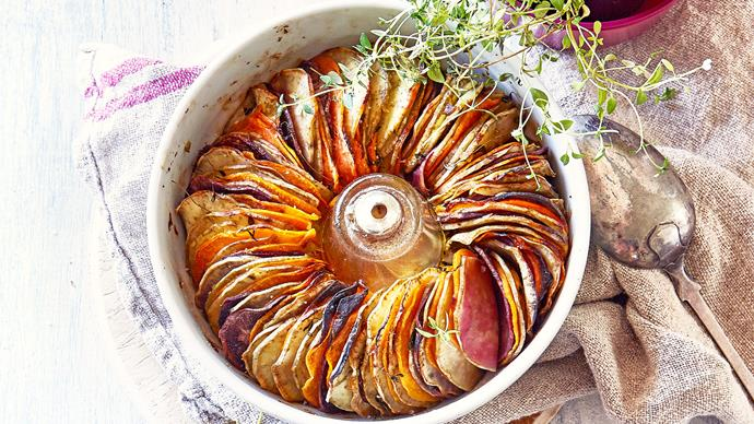 Maple and thyme-baked kumara