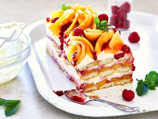 Boozy mango and orange tiramisu with raspberry sauce