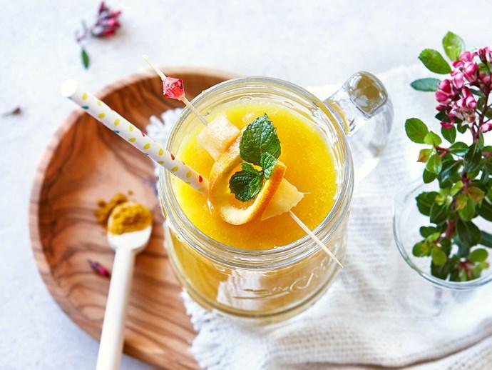 Mango, turmeric and orange vegan smoothie