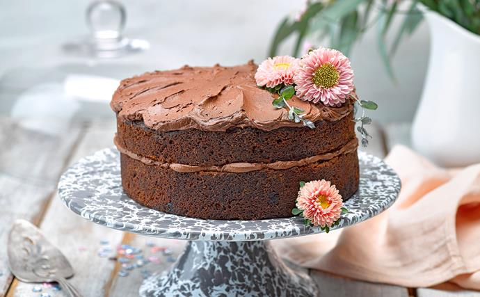Parsnip and apple chocolate cake with whipped ganache