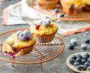 Little courgette, blueberry and lemon cakes